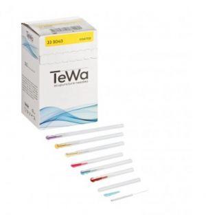 Aiguille acupuncture TeWa métal avec manche rigide JJ2525 par 100